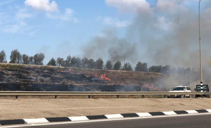 שריפה בכביש 34