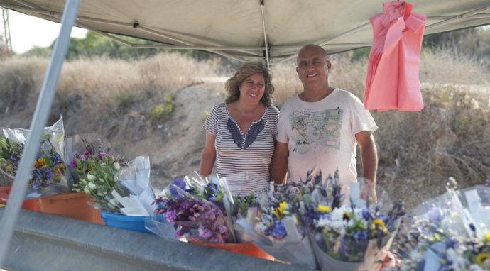 גבי ורחל. מוכרים פרחים כבר 20 שנה (צילום: דור קשלס)