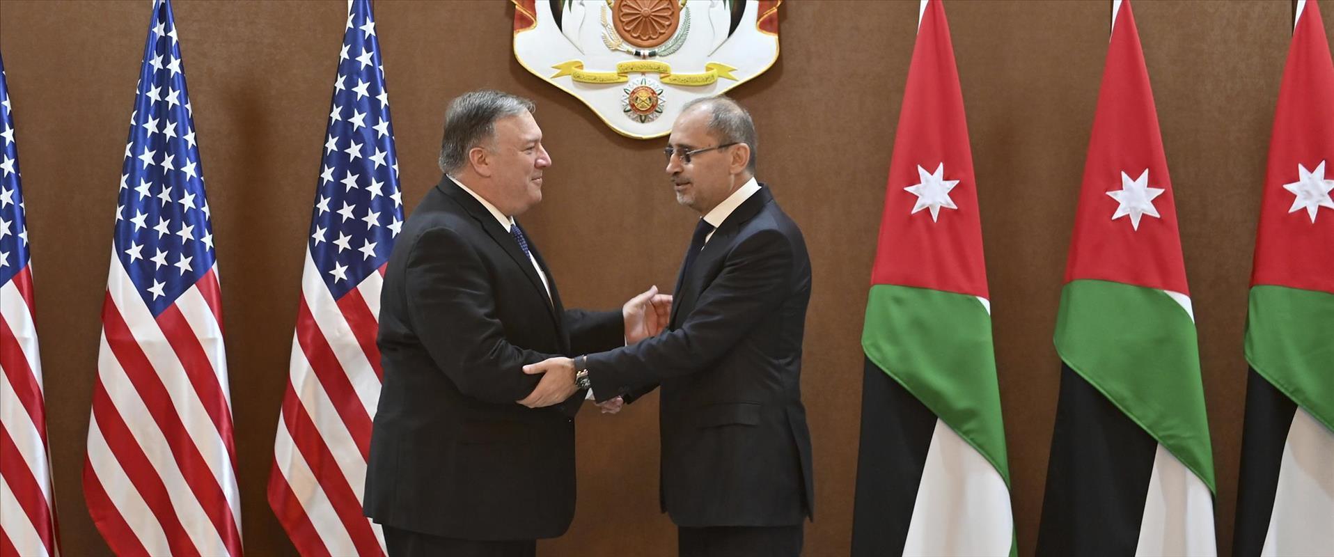 שר החוץ האמריקני מייק פומפאו ומקבילו הירדני איימן
