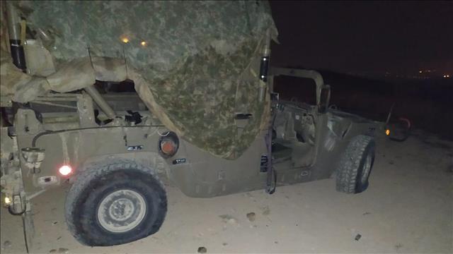 הג'יפ הצבאי לאחר התקיפה ביצהר