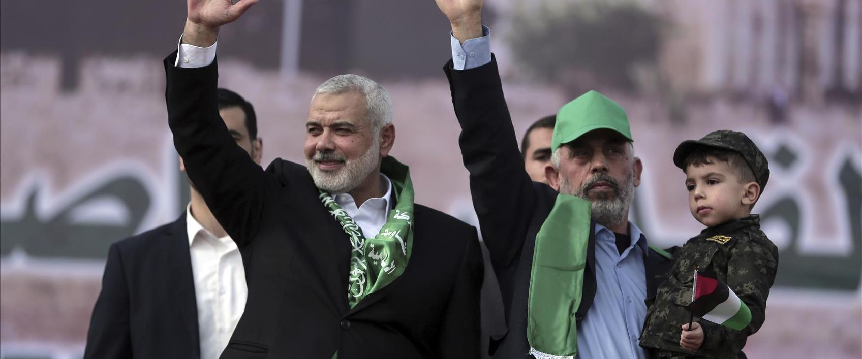 הנהגת חמאס יחיא סנוואר ואיסמעיל הנייה ברצועת עזה