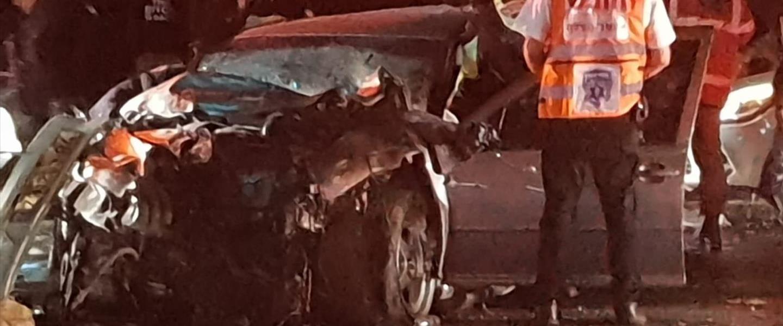 זירת התאונה בכביש 443