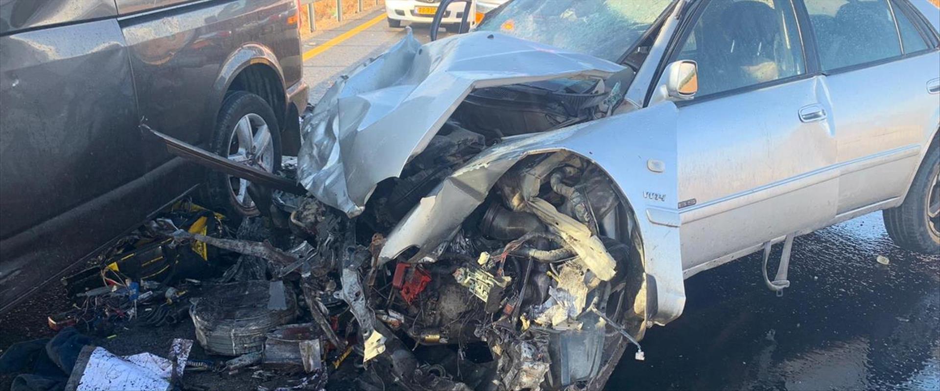 זירת התאונה בכביש 767, הבוקר