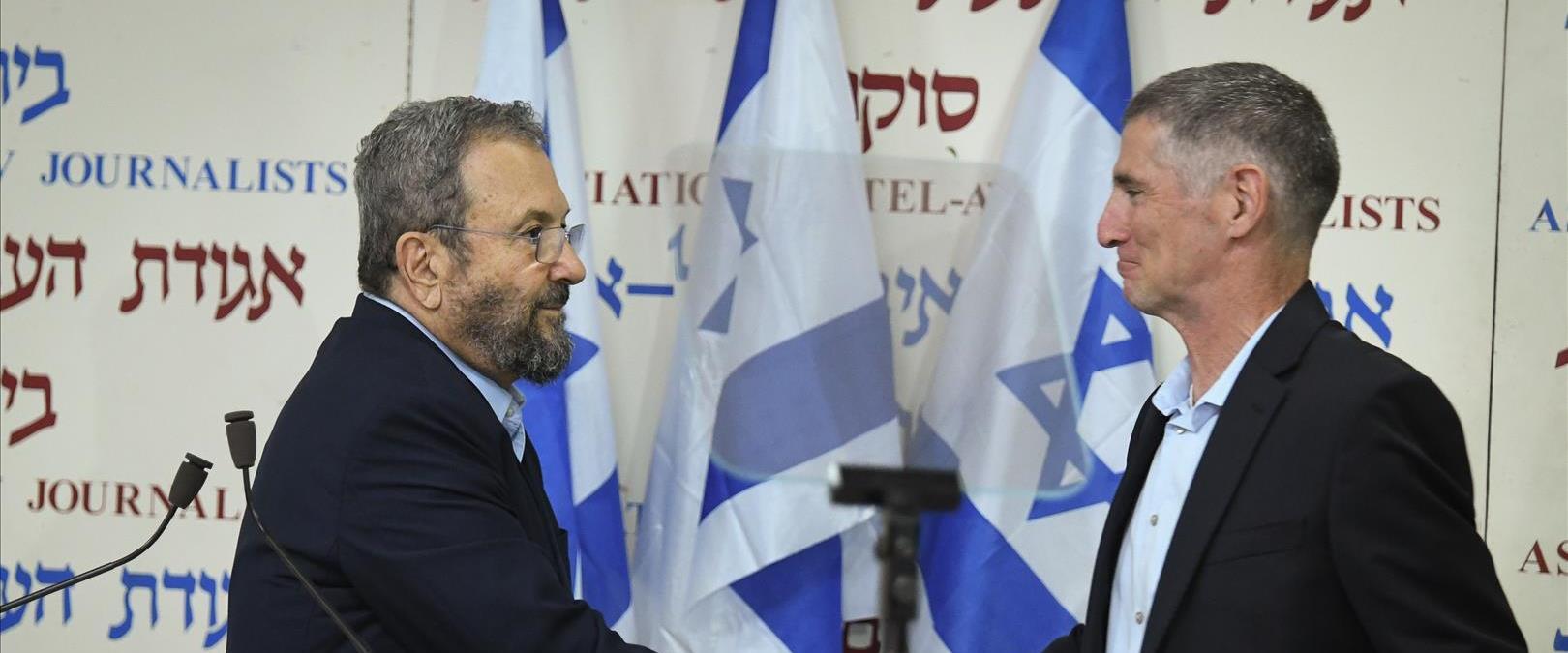 אהוד ברק ויאיר גולן בהודעה על הקמת מפלגה