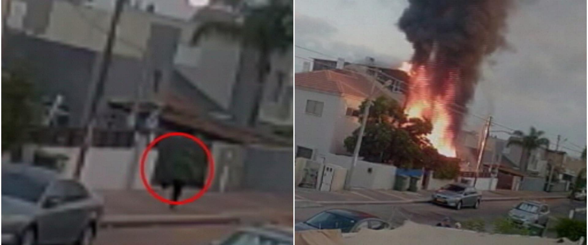 תיעוד הצתת ביתה של כרמל מעודה ממצלמות האבטחה