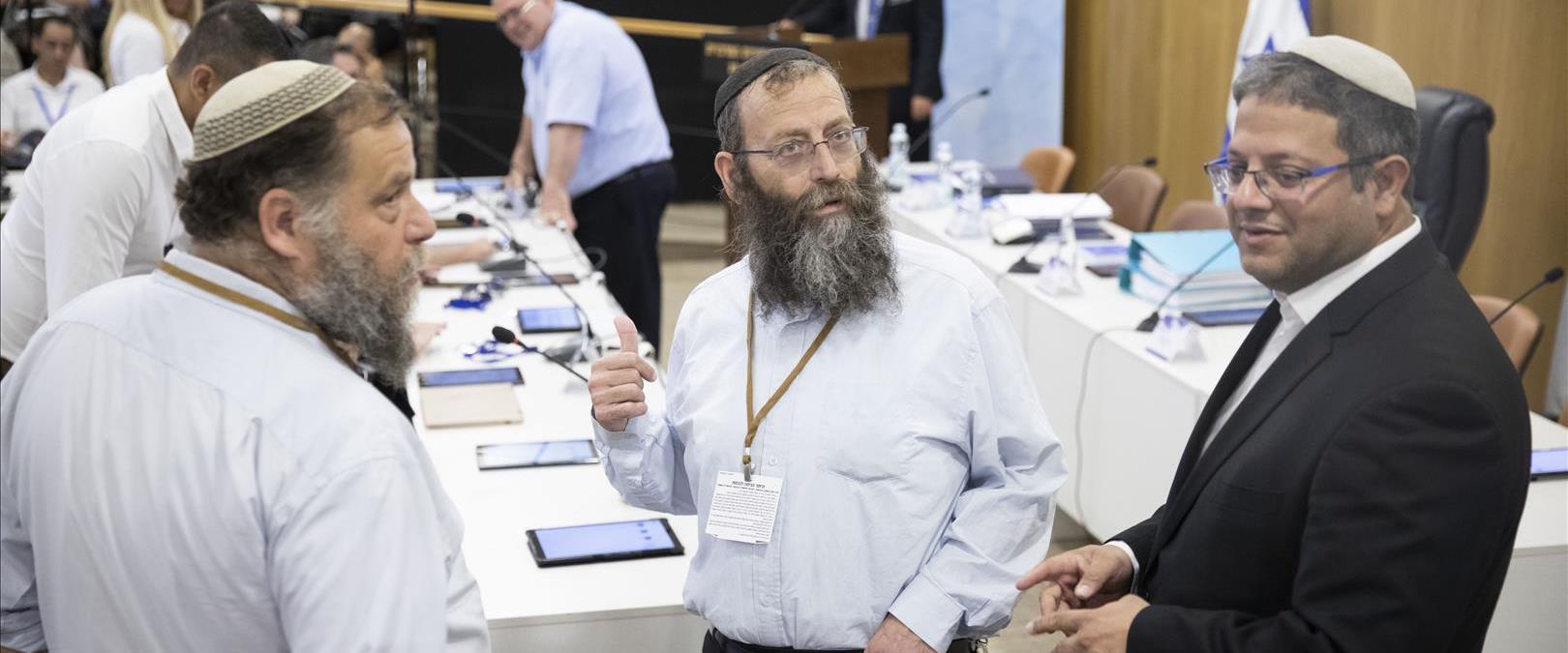 אנשי עוצמה יהודית בדיון בוועדת הבחירות