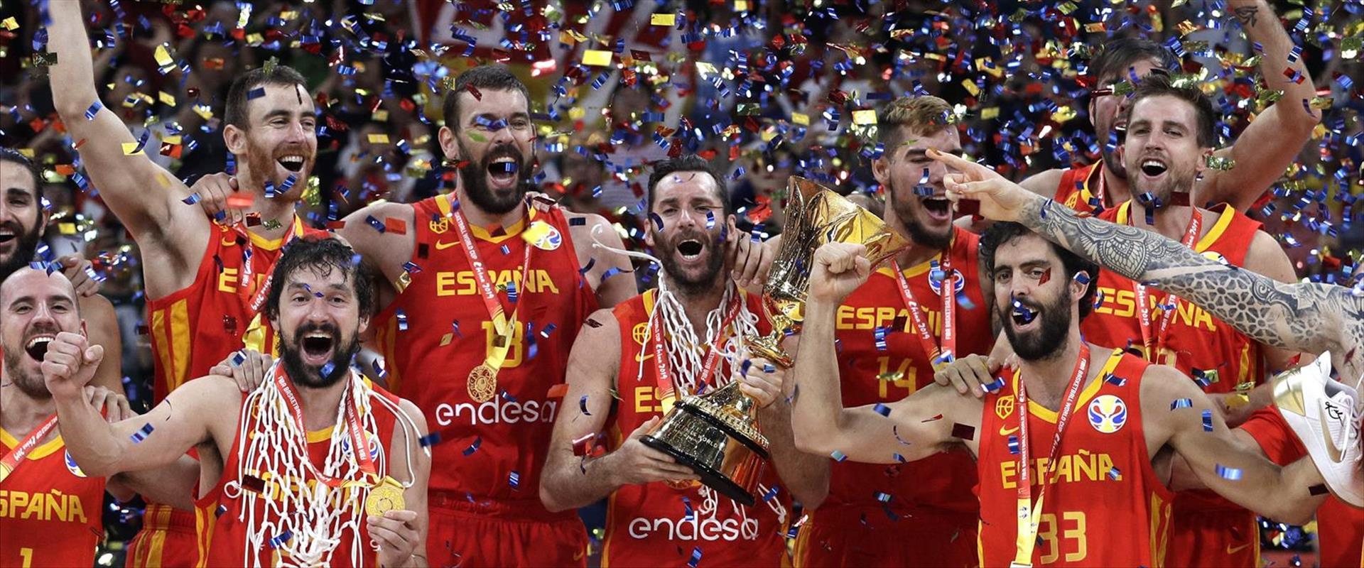 נבחרת ספרד לאחר הזכיה באליפות העולם בכדורסל, הערב