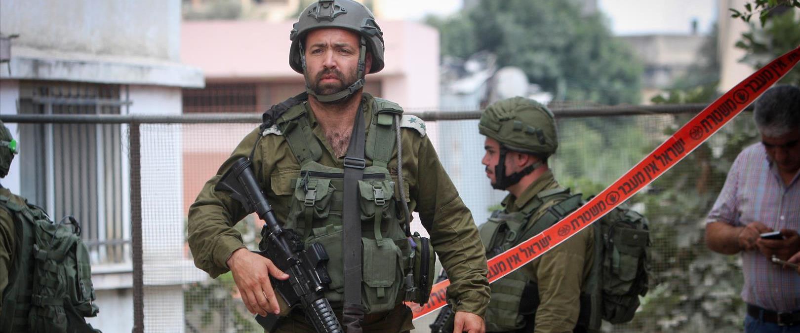 כוחות הביטחון בזירת הפיגוע בכפר עזון השבת