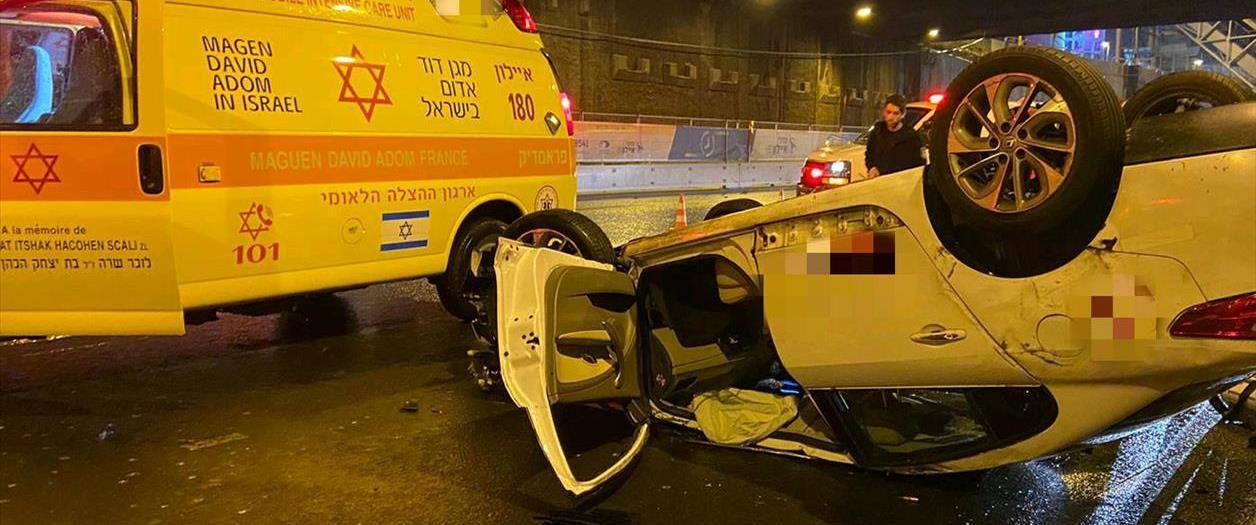 זירת התאונה בתל אביב, לפנות בוקר