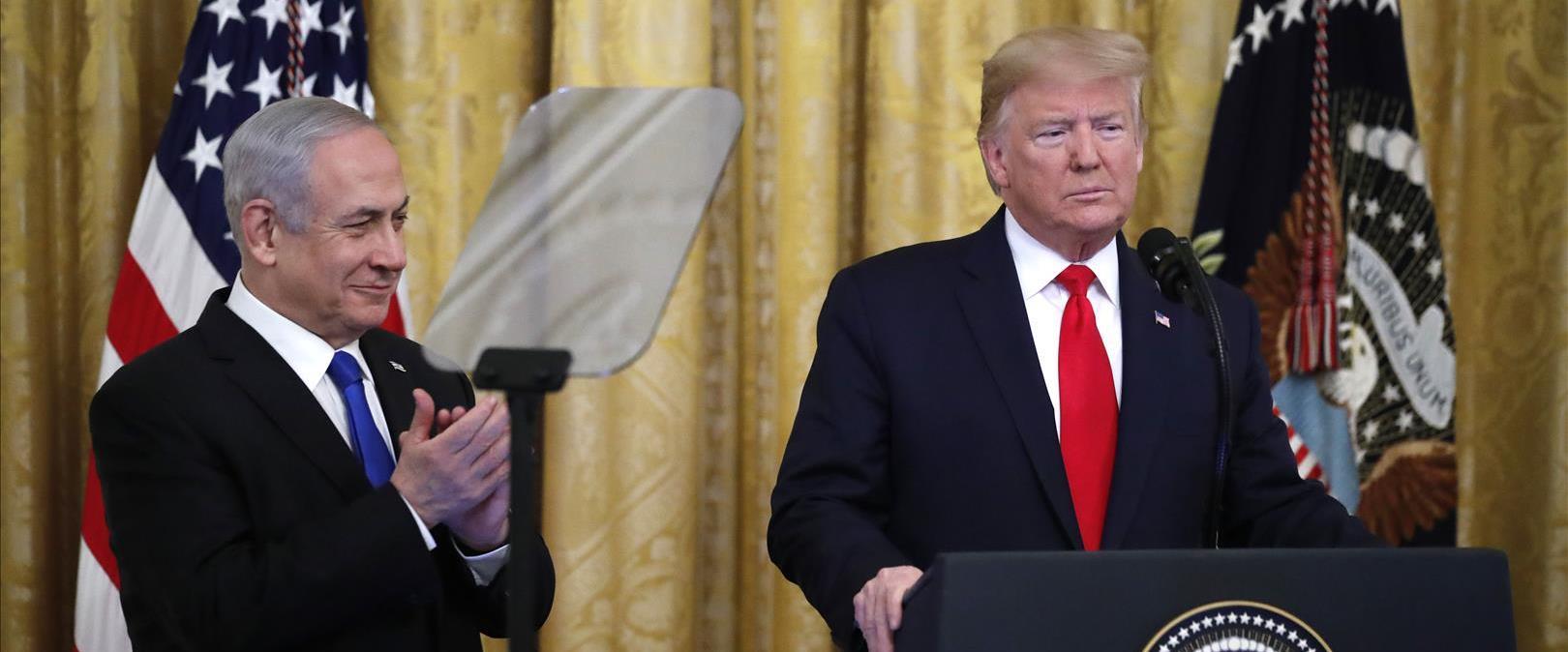 טראמפ ונתניהו בהצגת תוכנית השלום