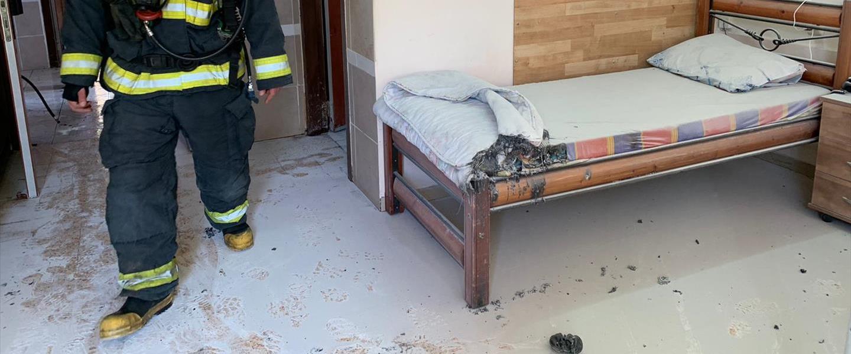 נזקי השריפה בבית האבות בנהריה