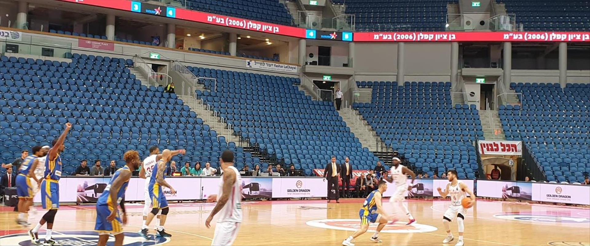 משחק של הפועל ירושלים בכדורסל ללא קהל בארנה בירושל