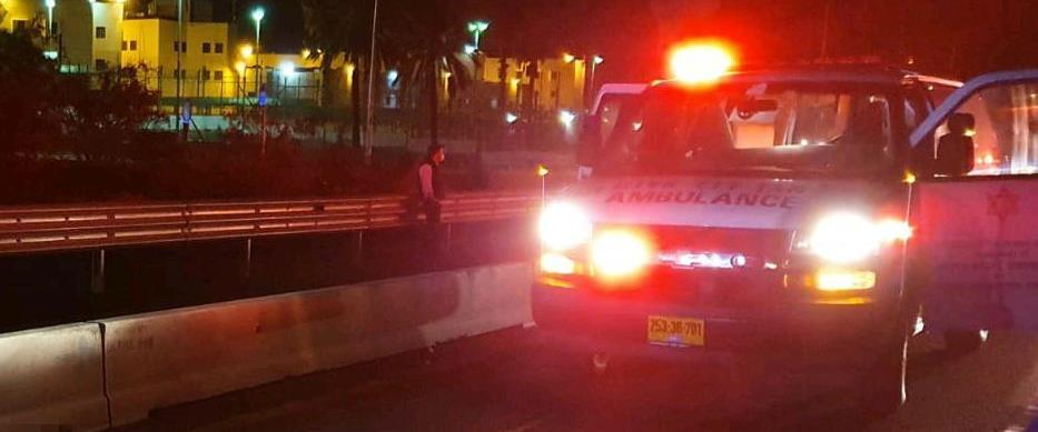 זירת התאונה בכביש 4, ליד מחלף בני דרור