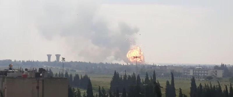 פיצוצים בבסיס צבאי ליד חומס, סוריה, 1 במאי 2020