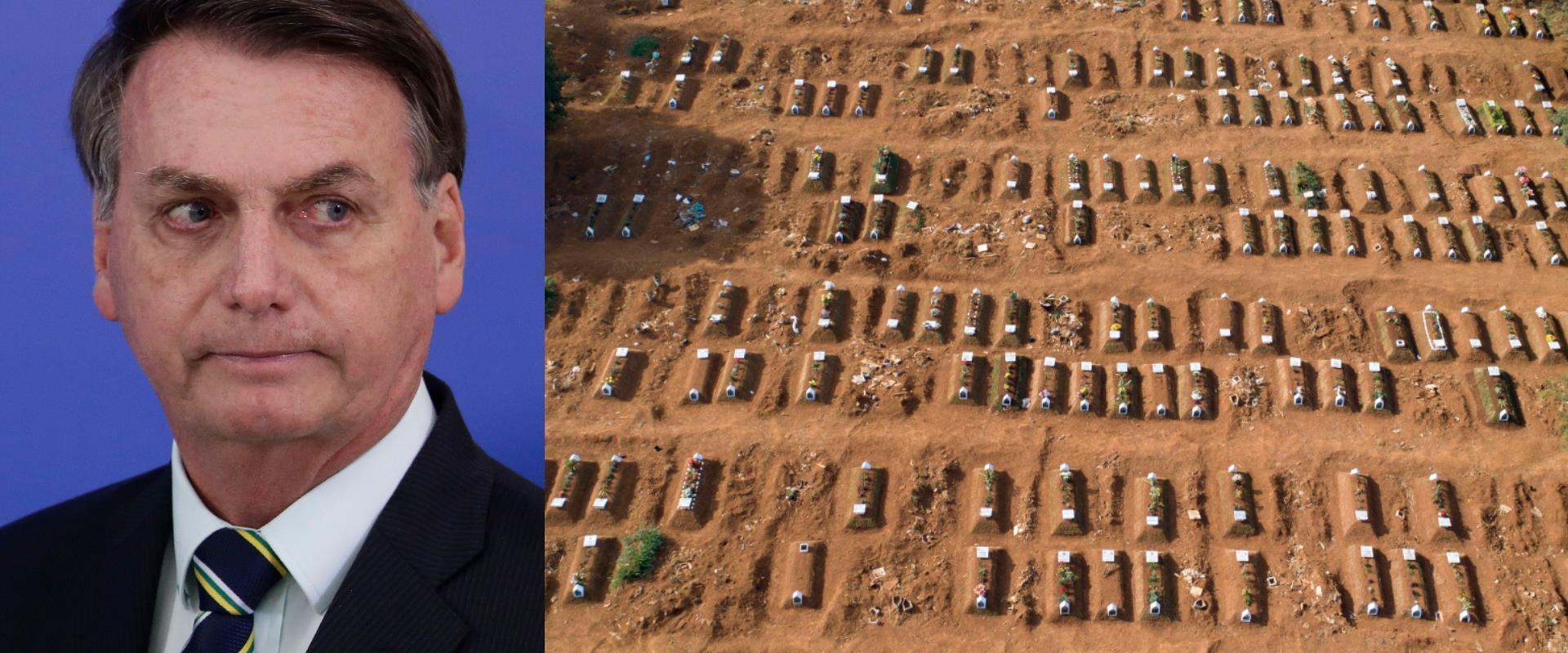 חלקת המתים מקורונה בסאו פאולו השבוע, הנשיא בולסונא