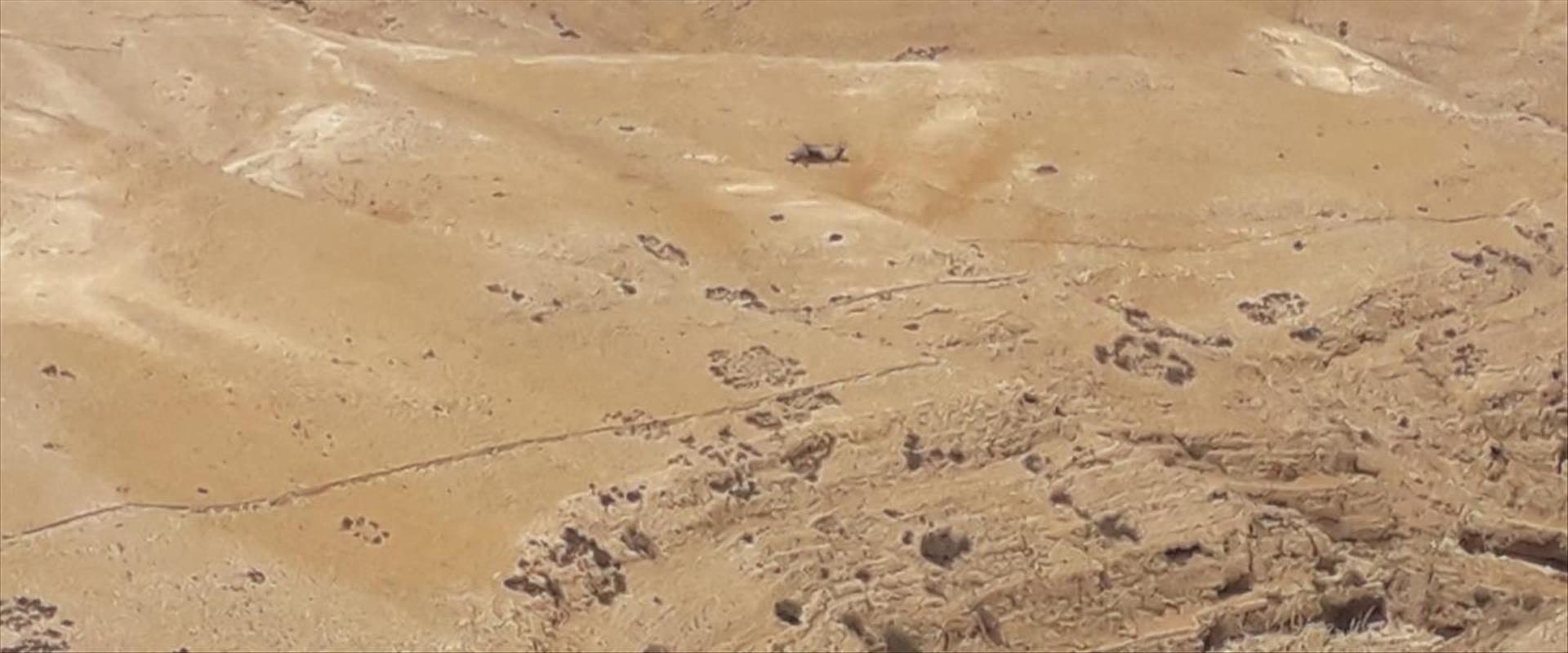 מסוק החילוץ בוואדי קלט | צילום: משטרת ישראל