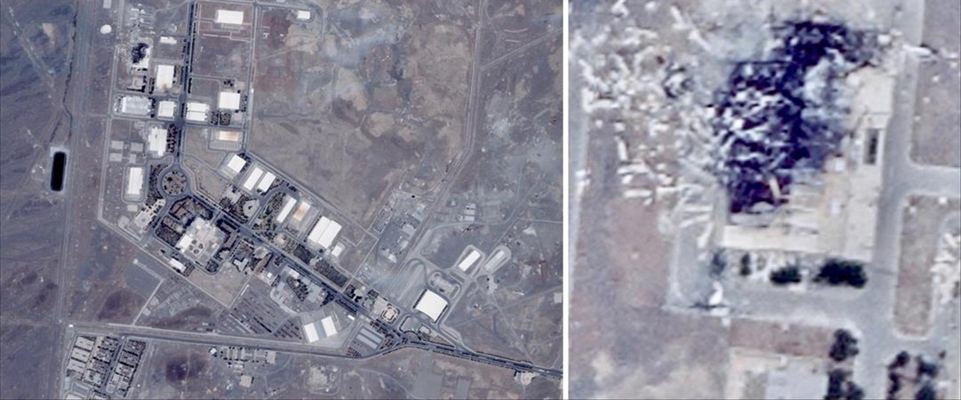 צילומי לווין של אתר הגרעין בנתנז לאחר הפיצוץ