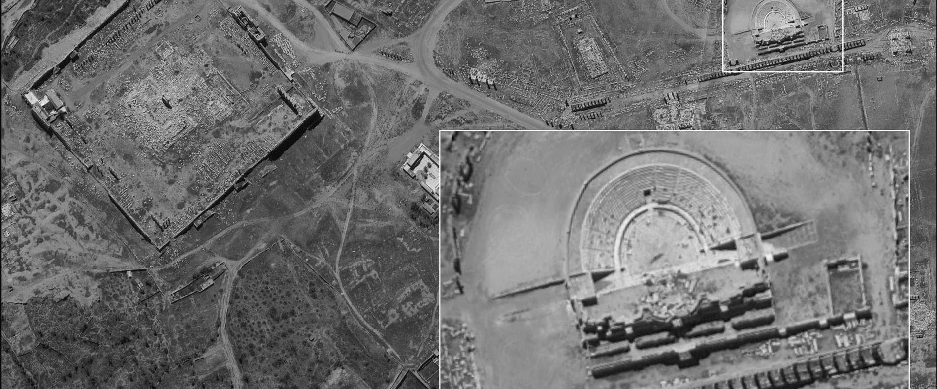 התיאטרון הרומי בסוריה ממצלמת הלוויין אופק 16