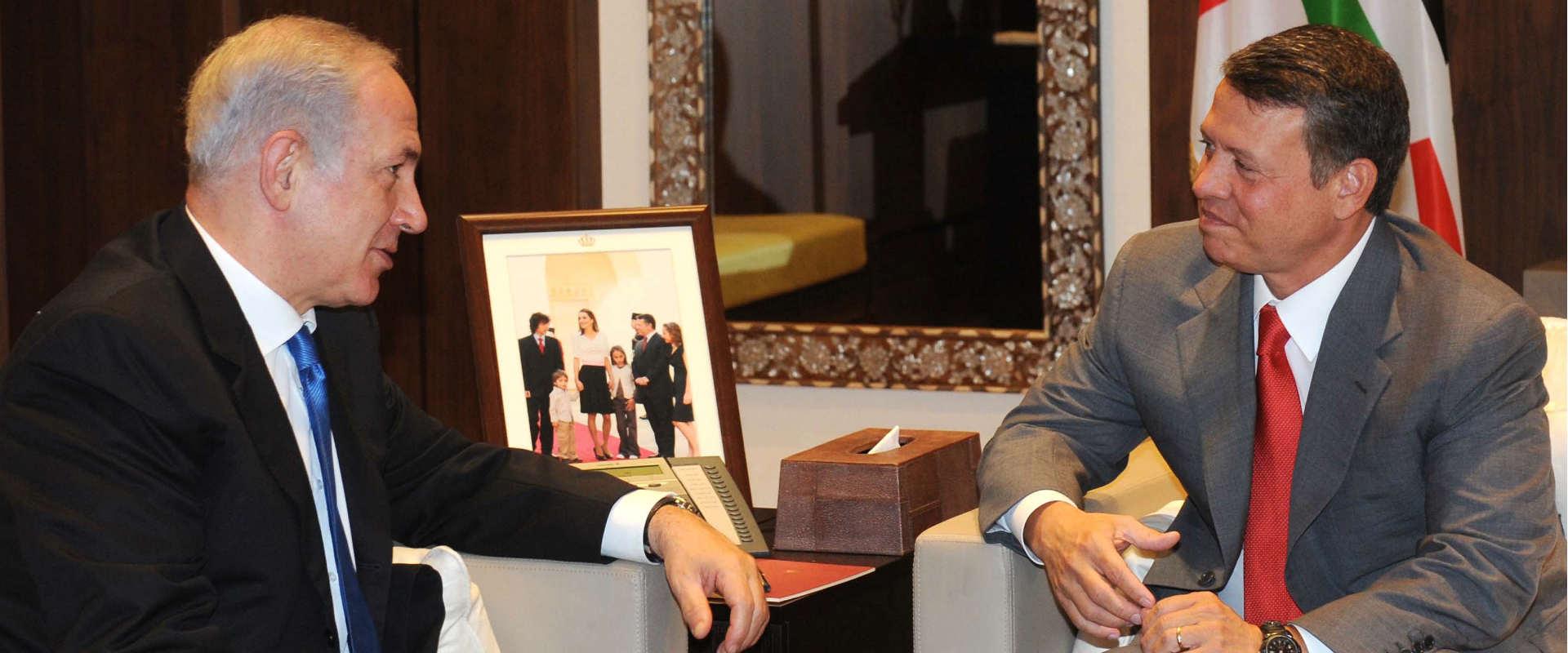 ראש הממשלה, בנימין נתניהו, והמלך עבדאללה בעמאן. יו