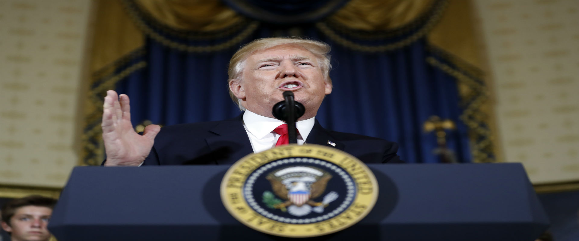 נשיא ארצות הברית דונלד טראמפ בנאום בבית הלבן, השבו