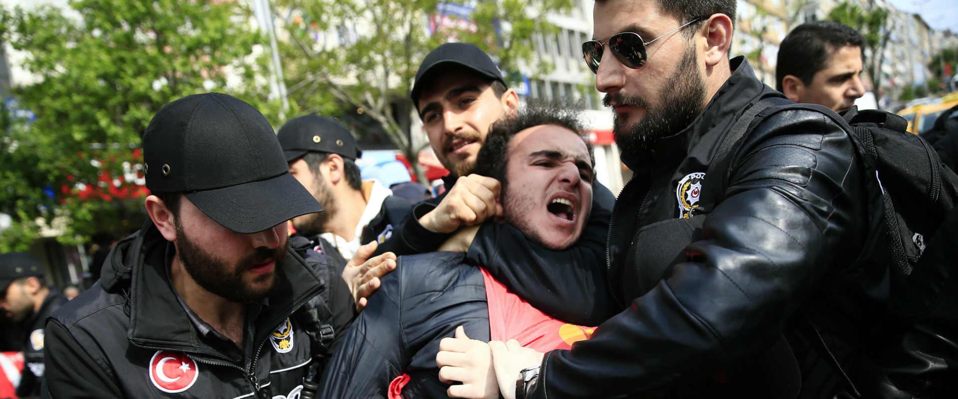 עצור בהפגנת יום הפועלים בטורקיה, מאי 2017
