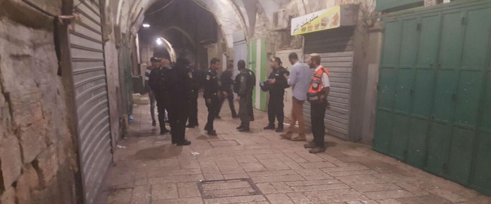 שוטרים באזור הקטטה בעיר העתיקה בירושלים