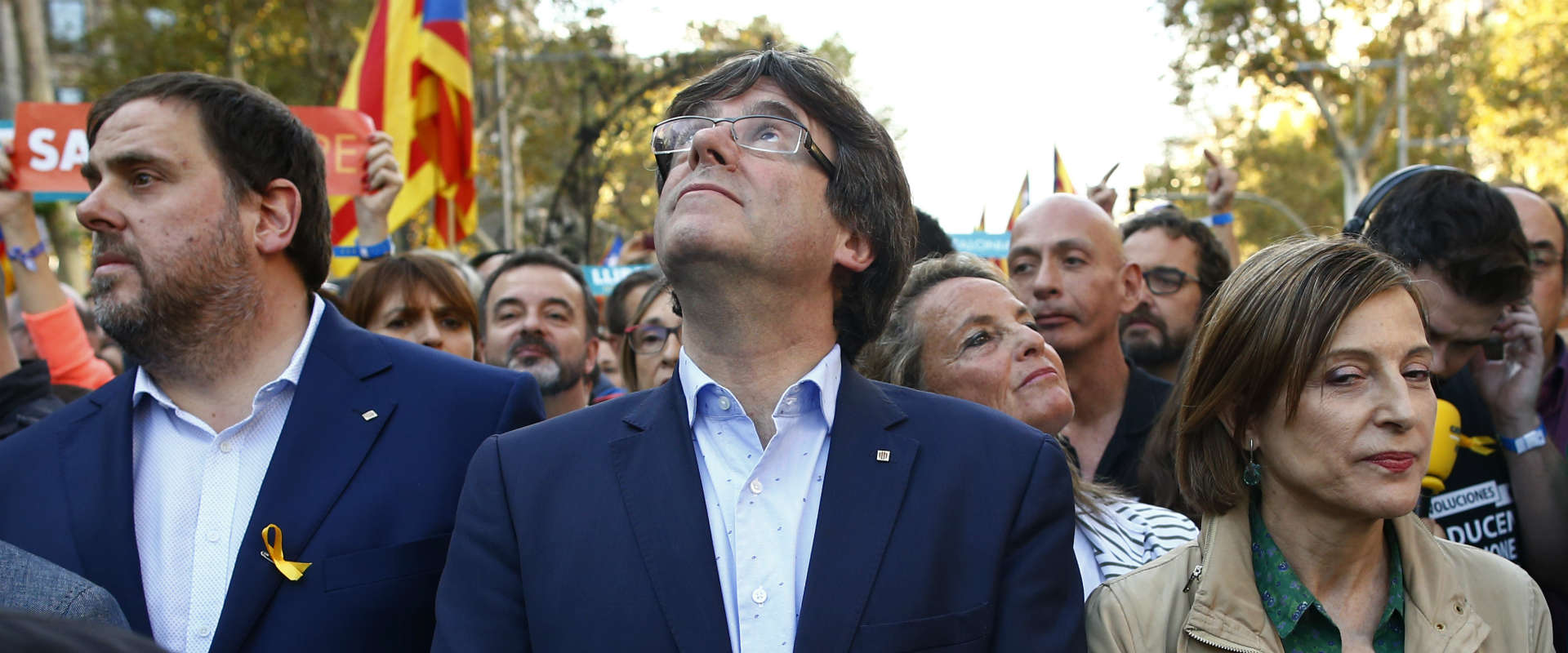 קרלס פוג'דמון היום בהפגנה בברצלונה