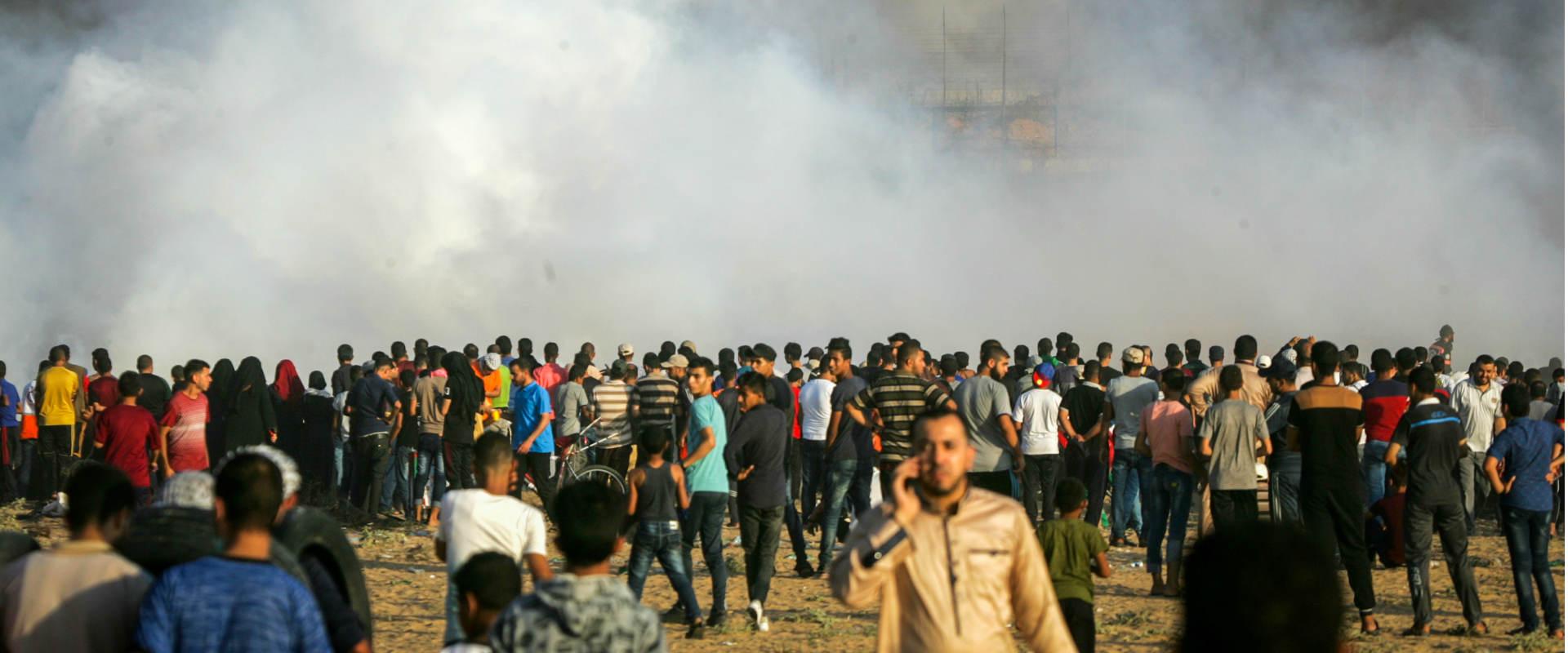 הפגנה של חמאס בגבול