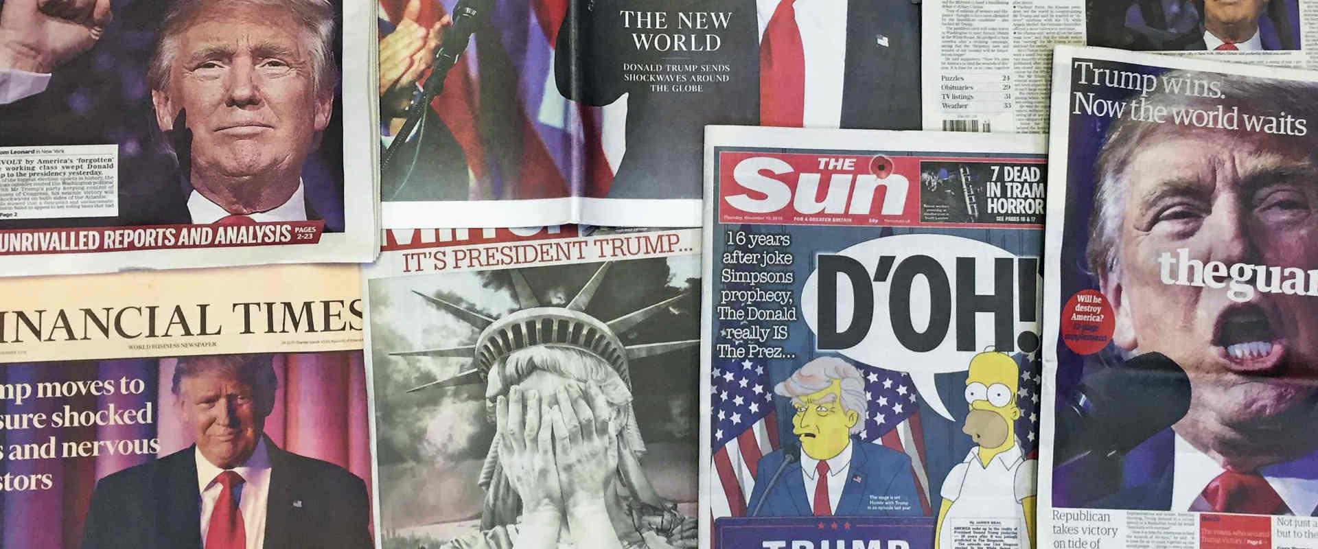 כותרות עיתוני בריטניה לאחר בחירתו של דונלד טראמפ ל